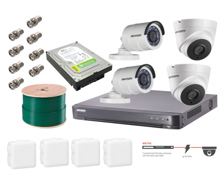 Hikvision Pack DVR Analogique 4MP Pro Avec 2 X Cameras Dome 2 X Camera Bullet