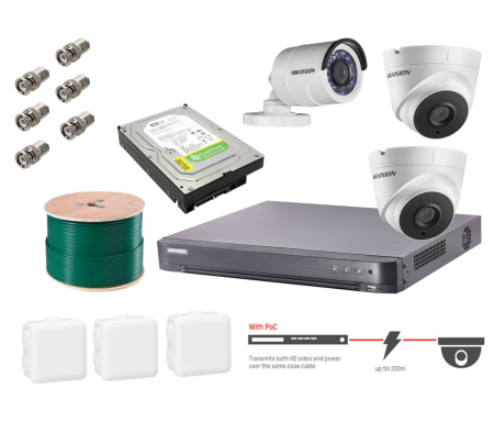 Hikvision Pack DVR Analogique 4MP Pro Avec 2 X Cameras Dome 1 X Camera Bullet